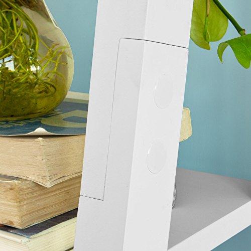 Haotian FRG61-W, Modern 5 Tiers Ladder Shelf Bookcase, Wood Storage Display Shelving, Wall Shelf, W64xD39xH180cm, White