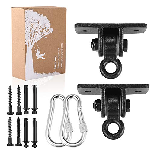 MDAIRC Swing Set Brackets, Heavy Duty Swing Hangers for Wooden Sets Playground Porch Indoor Outdoor & Hanging with Snap Hooks (2 Pack Black Swing Hook)