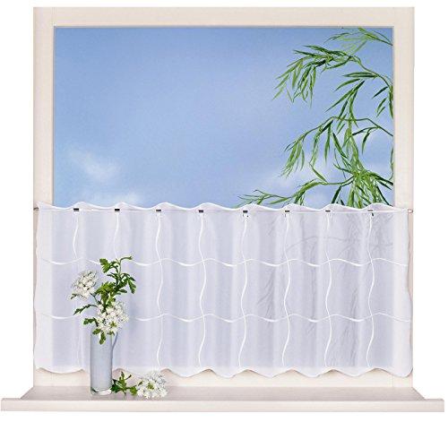 Scheibengardine LENTINI weiß B/H: 150x50 cm moderne transparente Kurzgardine