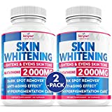 (2 Pack) Glutathione Whitening Pills - Help with Dark Spots, Scars, Uneven Skin Tone, Pigmentation - Anti-Aging Support - Skin Lightening Pills with 2,000 mg Glutathione - 120 Glutathione Pills