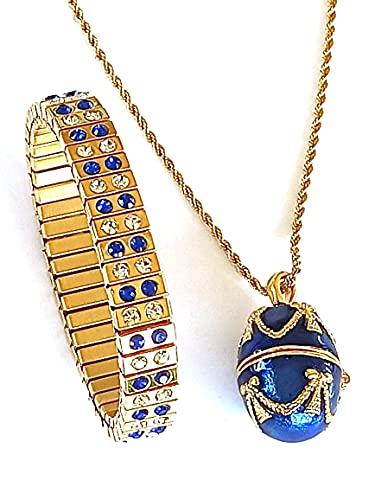 Collar de lujo con diseño de huevo de Faberge azul y pulsera de 2 quilates, regalo de nuera, joyería para madre y mujer hecha a mano con amor para las mujeres, oro de 24 quilates, joyería rusa de