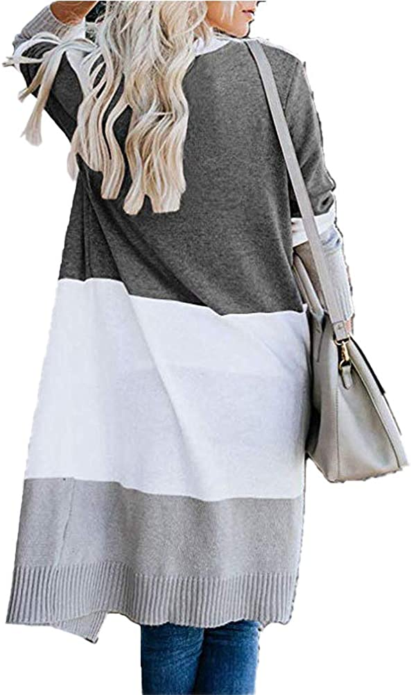 VOIKERDR Cardigans for Women Colorblock Long Sleeve Open Front Knitted Fall Cardigans
