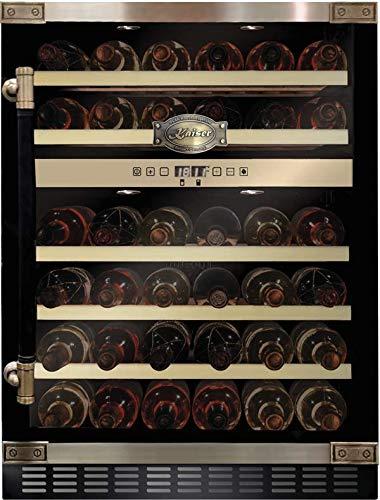 Kaiser K 64750 AD Retro Weinkühlschrank 145 l 46 Weinflachen 2 Klimazonen Freistehend/Unterbau Getränkekühlschrank,5 herausziehbare Holzregale
