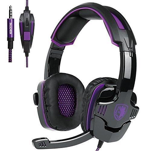 Preisvergleich Produktbild Sades SA930 Stereo Kopfhörer mit Mikrofon-Lautstärkeregler für Neue Xbox ein PS4 PC Laptop Mac Tablet Smartphone von Schwarz / Violett