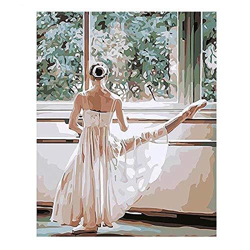 zhyaa Bailarina de Ballet DIY por Pintura Digital por coloración Digital en el Lienzo para Dibujar imágenes de Arte de Pared de Pintura al óleo Digital pintadas a Mano