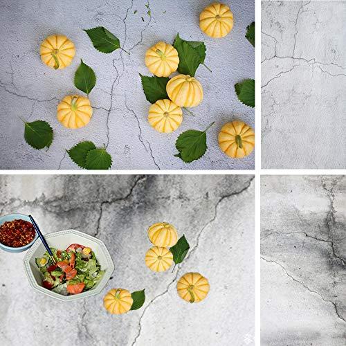 Muzi Fondo de pared de hormigón 2 en 1 de 55 x 88 cm para alimentos, pastelería, sesión de fotos con patrón de doble cara para fotografía, tablero de papel sin costuras TB-12