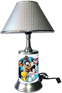 JS Looney Tunes Characters Lamp with chrome shade, Bugs Bunny, Tweety Bird, Daffy Duck, Tasmanian Devil