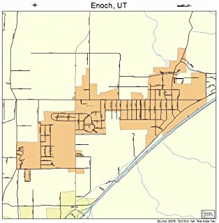 Large Street & Road Map of Enoch, Utah UT - Printed poster size wall atlas of your home town