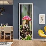 Pegatinas de puerta extraíbles, pegatinas de arte de puerta 3D, murales de puerta impermeables autoadhesivos, pegatinas de puerta para decoración de habitaciones, seta roja