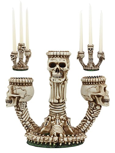 Ebros Gothic Trio Ossuary Graveyard Skulls and Skeleton Bones Candelabra Candle Holder Statue Wicked...
