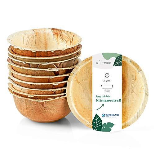 Wiseware Lot de 25 mini bols jetables ronds en feuille de palmier biodégradables - Vaisselle de fête biodégradable - Vaisselle jetable bio