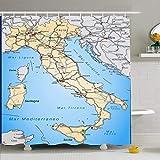 Juego de cortina de ducha con ganchos Mapa Italia Carreteras Naranja pastel en Génova Red Fronteras vecinas Interiores nacionales Educación Tela de poliéster impermeable Decoración de baño para baño