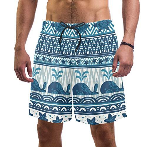 Eslifey Herren Strand Shorts Unterwasser Wale Seestern und Schildkröten Badehose elastisch Badeanzug Boardshorts für Herren Gr. Verschiedene Größen, multi