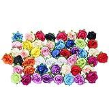 Merssavo 50 Rosas Multicolor Floral Pequeño para Flor de Tocado, Adornar Pequeños Acceso...
