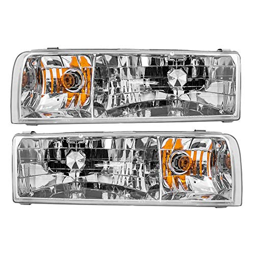 Epic Lighting OE Style Replacement Headlights Assemblies Compatible with 1995-1997 Lincoln Town Car [ FO2502141 FO2503141 F5VY13008B F5VY13008A ] Left Driver & Right Passenger Sides Pair