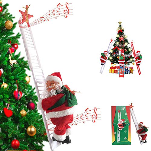 BERNIE ANSEL Electric Climbing Ladder Rope Santa Claus Doll Christmas Figurine Ornament Santa Climbing Ladder to Tree