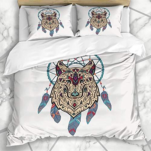 ZORMIEY Ropa de cama - funda nórdica Boho Tribal Wolf Dream Catcher Resumen American Apache Tattoo Microfibra nuevo conjunto de tres piezas de varios patrones personalizados Funda de edredón 140 * 200