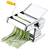 Manual Pasta Maker, Stainless Steel Pasta Machine with 6 Adjustable Thickness Settings, 2 in 1 Pasta...