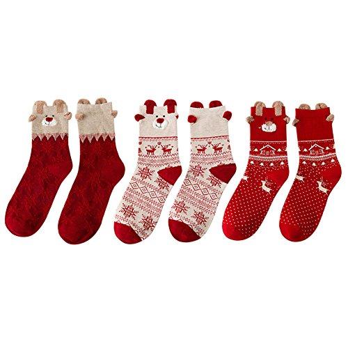 Chic-Chic Chaussettes Femmes Filles Noël Souple Coton Motif Père Noël Elk Automne Hiver Déguisement Costumes (3pair)