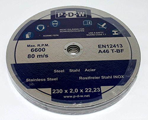 10 Trennscheiben Ø 230mm Wellenduchmesser 22,23mm Dicke 2,0mm f. Winkelschleifer Flexschleifgeräte INOX Edelstahl Metall Flexscheiben 230x22,23x2,0 mm