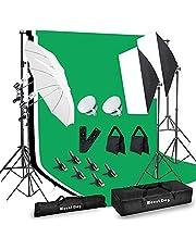 Kit de iluminación para fotografía, 6.6 x 10 pies sistema de soporte de telón de fondo y 900 W 6400 K bombillas LED, caja de luz continua y paraguas, kit de iluminación para fotos y video.