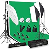 MOUNTDOG Photography Lighting Kit,6.6X 10ft Backdrop Stand System and 900W 6400K LED Bulbs Softbox and Umbrellas Continuous Lighting Kit for Photo Video Shooting