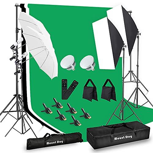 MOUNTDOG Photography Lighting Kit,6.6X 10ft Backdrop Stand System and 900W 6400K LED Bulbs Softbox...