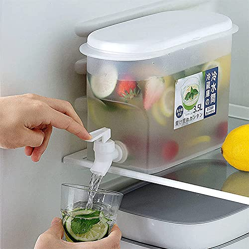 3.5l Water Jug Dispenser for Fridge - Juice Container with Faucet Jug,BPA free Cold Bubble Bottle,100% Leakproof Sealed Cover to Prevent Odor, for Juice Wine Coffee