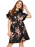 Milumia Women's Plus Size Floral Print Ruffle Sleeve Pleated Summer Dress Black XX-Large Plus