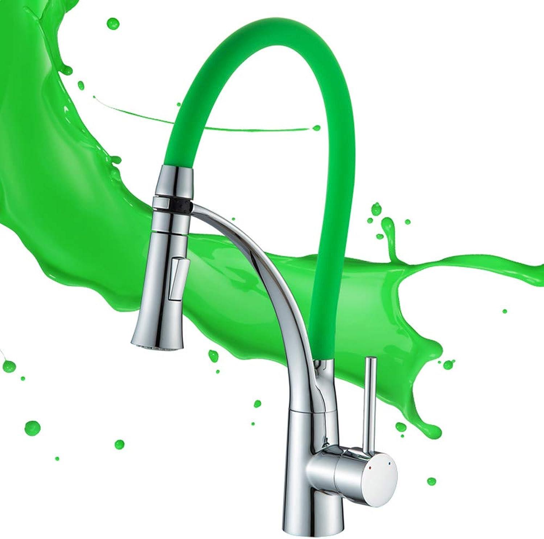 WYZBD Küchenarmatur verdickt Kupferhahn Farbe Drehhahn Spülbecken Wasserhahn hei und kalt,Grün