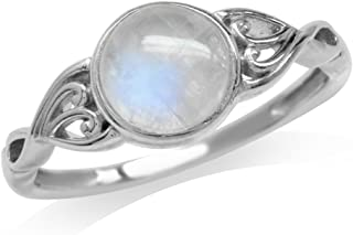 Silvershake 7mm Natural Moonstone 925 Sterling Silver Victorian Style Solitaire Ring