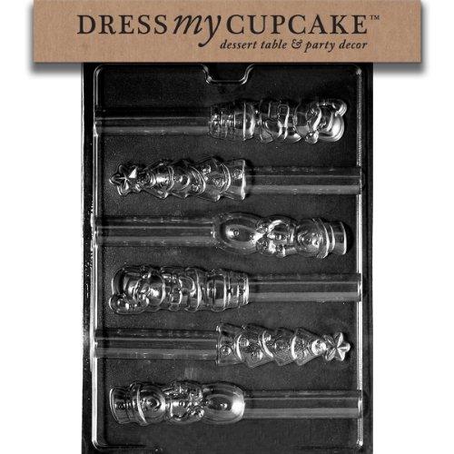 Dress My Cupcake Chocolate Candy Mold, X-Mas Pretzel Top Assorted, Christmas