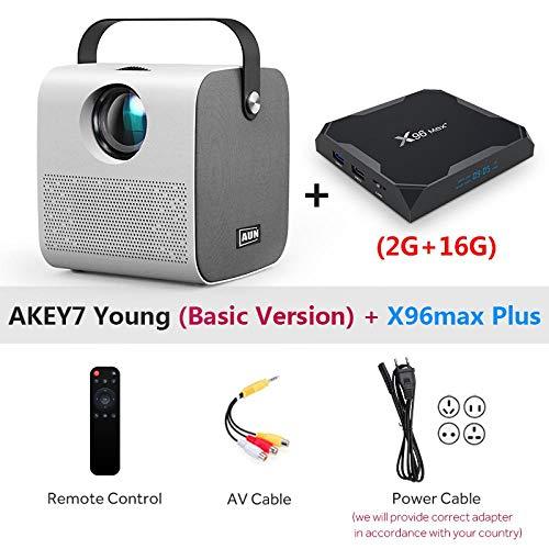 Beamer AUN Mini Projektor, Native 1280 * 720P 2800 Lumen, LED Proyector 3D Video Beamer Heimkino AKEY7Young-Box