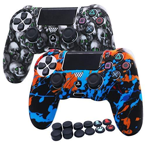 PS4 Controller-Hülle Silikon RALAN, Silikongel Controller Cover Skin Protector kompatibel für PS4/PS4 Slim/PS4 Pro Controller (Schwarz Pro Daumengriff x 8, Katze + Skull Cap Cover Grip x 2)