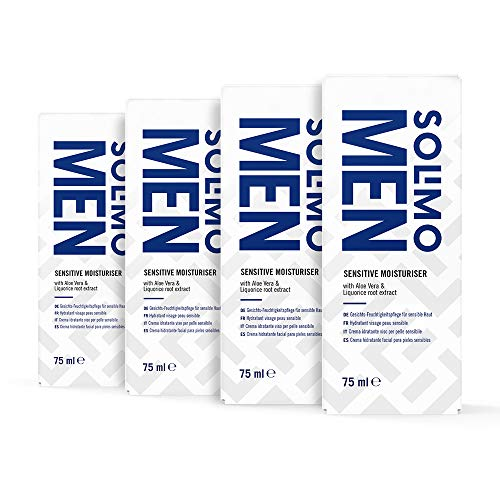 Marca Amazon - Solimo Men Crema hidratante facial Sensitive con aloe vera y extracto de raíz de regaliz, 4x75ml