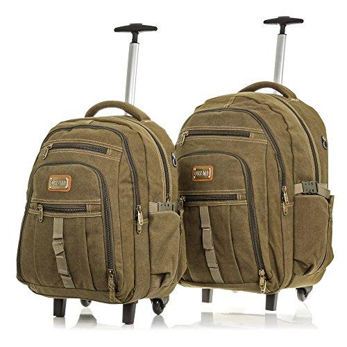 OR&MI. Set 2 mochilas maletas lona canvas premium.Maletas viaje multifuncional.Convertible mochila.Interior acolchado. Mochila trolley viaje casual unisex. 38x51x25 cm. Color VERDE