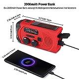 Outdoor Solar Radio, Multifunktion Tragbares Outdoor Radio Kurbelradio für Notfälle,mit AM/FM Wetter Radio, mit LED Taschenlampe/mit 2000mAh Eingebaute Batterie Power Bank, Notfall SOS Alarm - 4