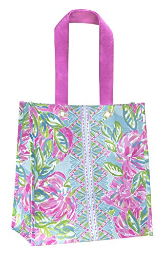 Lilly Pulitzer Pink/Blue/Green Market Shopper Bag, Reusable Grocery Tote with Comfortable Shoulder Straps, Totally Blossom
