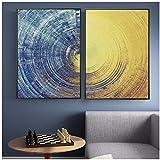 NIEMENGZHEN Leinwand Malerei abstrakt blau und gelb Kreise Muster Moderne Plakate und Drucke Wandkunst Bilder für Wohnzimmer Home Decor 23,6'x 31,4' (60x80cm) x2 ohne Rahmen