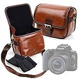 DURAGADGET Bolsa Profesional marrón con Compartimentos para Cámara Canon EOS 250D Tamaño Mediano.