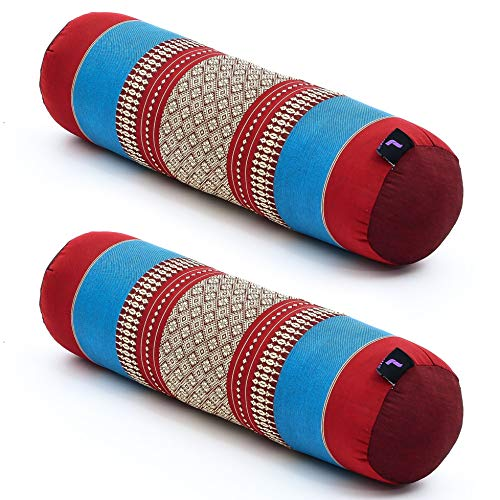 Leewadee Set de 2 Yoga bolsters pequeños – Cojines alargados para Pilates, reposacabezas Hechos de kapok Natural, 55 x 15 x 15 cm, Set de 2, Azul Rojo