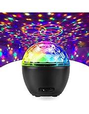 Fochea Led-discobal, voor kinderen, partyverlichting, led-projectorlamp, verlichting, muzieklichteffecten, met afstandsbediening en USB-kabel, voor Halloween, Kerstmis, kinderen, party, bar, club, decoratie