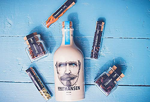 Gin Gourmet Box - Knut Hansen Dry Gin 0,5l - Gin Set inkl. 5 naturbelassenen Botanicals - Premium Gin Tasting Set - Hochwertiges Gin Tonic Set - Perfektes Geschenk