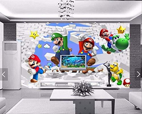 Benutzerdefinierte Tapete Für Kinder. Super Mario Animation, Moderne 3d-wandbilder Für Wohnzimmer Sofa Kinderzimmer Wand Vinyl Tapete Breite 300 cm * Höhe 200 cm