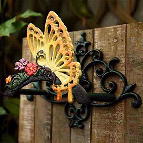 Sungmor Soporte para manguera de hierro fundido resistente, diseño de mariposas decorativas para montar en la pared, mariposas y mariposas, para colgar en la pared, decoración de pared antigua