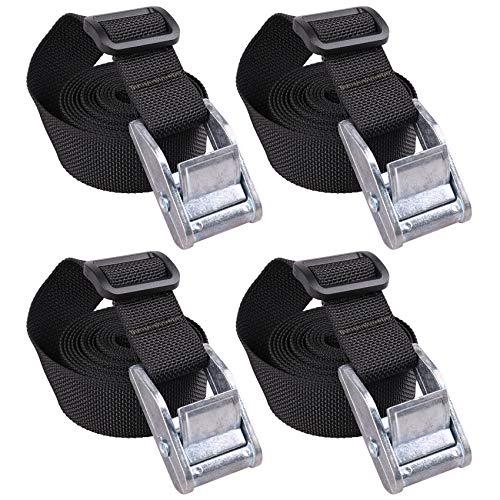 MAGARROW Sturdy Lashing Straps Tie Down Strap with Heavy Duty Cam Lock Buckle (6.5 Feet, White Buckle/Black Strap)