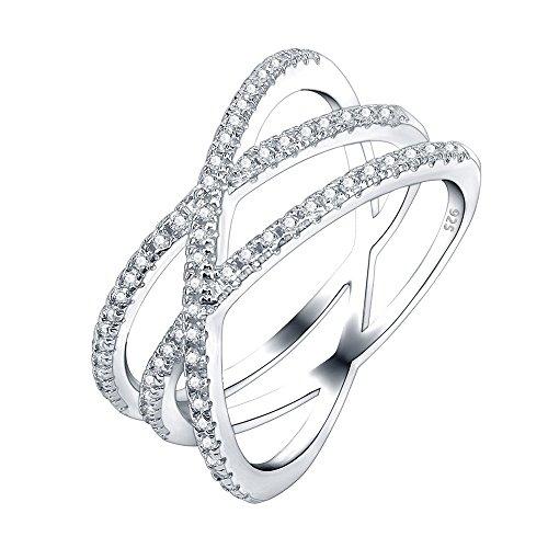 AoedeJ Anillo de cruz doble de plata de ley 925 infinito, anillo en X CZ eternidad anillos de boda para mujer