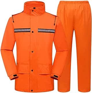 ZXAZBHD Double-Layer Split Waterproof Padded Raincoat Rain Pants Suit,Men and Women Adult Riding Reflective Raincoat Hiking,Camping (Color : Orange, Size : M)