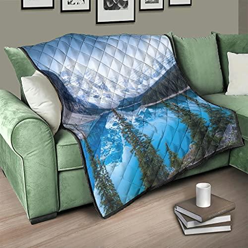AXGM Colcha de invierno con diseño de montaña y árboles, 3D, digital, 150 x 200 cm, color blanco