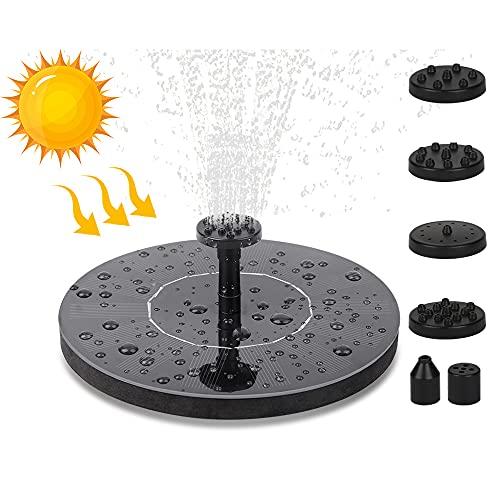 Vivibel Solar Springbrunnen,Solar Wasserpumpe Solar Teichpumpe,Solar Schwimmender Fontäne Pumpe mit 6 Fontänenstile für Garten, Vogel-Bad,Teich,Fisch-Behälter